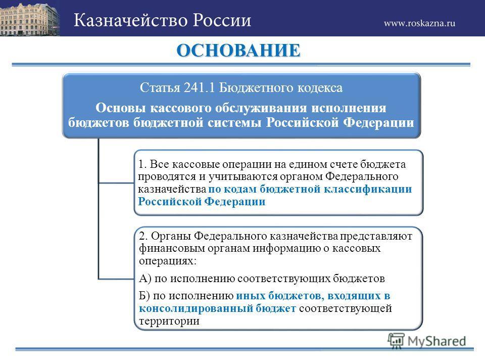 ОСНОВАНИЕ Статья 241.1 Бюджетного кодекса Основы кассового обслуживания исполнения бюджетов бюджетной системы Российской Федерации 1. Все кассовые операции на едином счете бюджета проводятся и учитываются органом Федерального казначейства по кодам бю