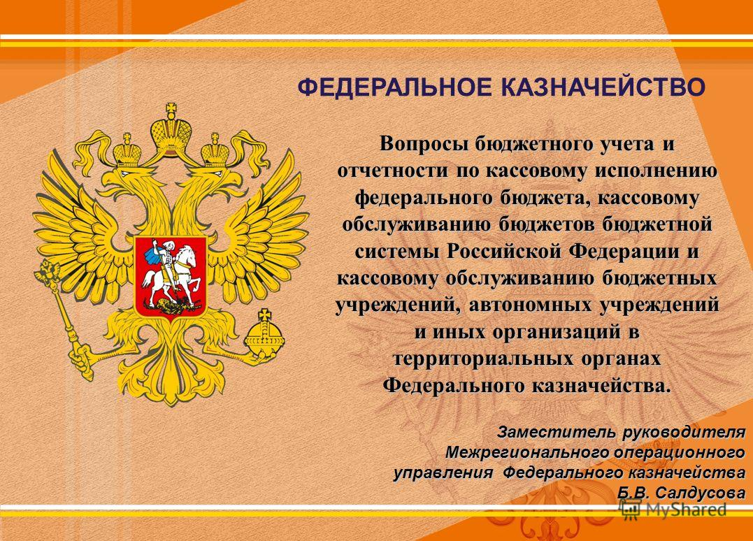 ФЕДЕРАЛЬНОЕ КАЗНАЧЕЙСТВО Вопросы бюджетного учета и отчетности по кассовому исполнению федерального бюджета, кассовому обслуживанию бюджетов бюджетной системы Российской Федерации и кассовому обслуживанию бюджетных учреждений, автономных учреждений и