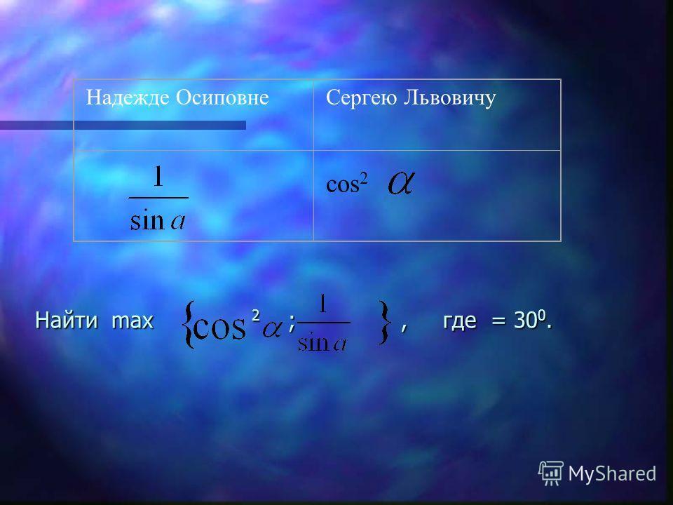 Найти max 2 ;, где = 30 0. Надежде ОсиповнеСергею Львовичу cos 2