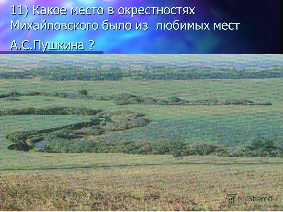 11) Какое место в окрестностях Михайловского было из любимых мест А.С.Пушкина ?