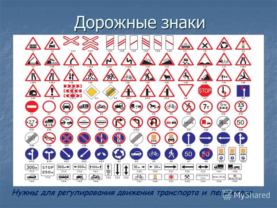 Дорожные знаки Нужны для регулирования движения транспорта и пешеходов