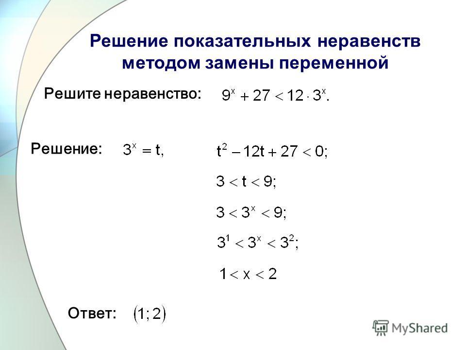 Решите неравенство: Ответ: Решение: Решение показательных неравенств методом замены переменной