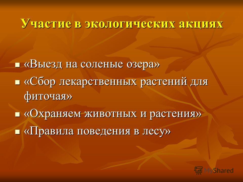 Участие в экологических акциях «Выезд на соленые озера» «Выезд на соленые озера» «Сбор лекарственных растений для фиточая» «Сбор лекарственных растений для фиточая» «Охраняем животных и растения» «Охраняем животных и растения» «Правила поведения в ле
