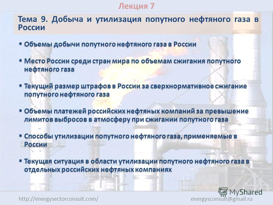Лекция 7 Тема 9. Добыча и утилизация попутного нефтяного газа в России Объемы добычи попутного нефтяного газа в России Объемы добычи попутного нефтяного газа в России Место России среди стран мира по объемам сжигания попутного нефтяного газа Место Ро