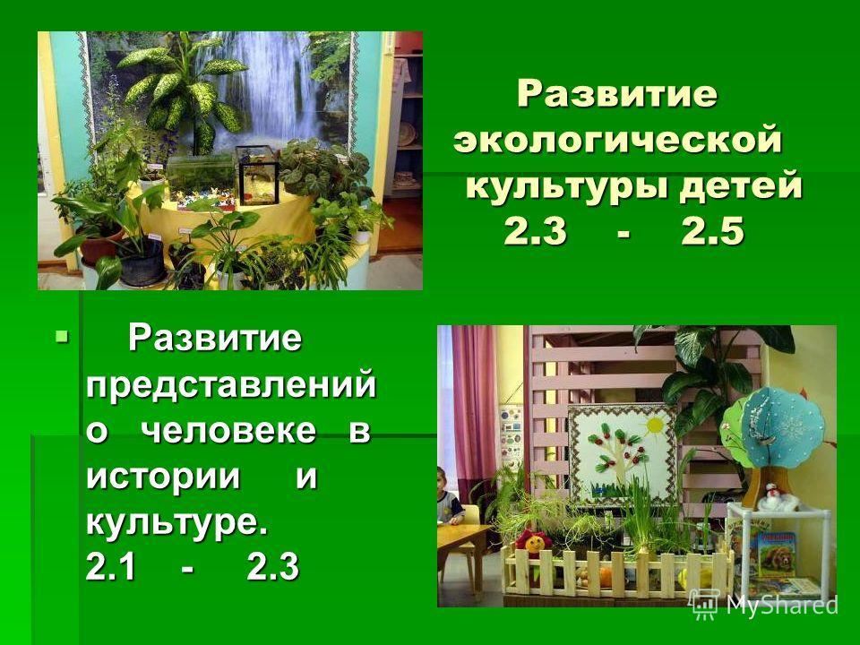 Развитие экологической культуры детей 2.3 - 2.5 Развитие экологической культуры детей 2.3 - 2.5 Развитие представлений о человеке в истории и культуре. 2.1 - 2.3 Развитие представлений о человеке в истории и культуре. 2.1 - 2.3