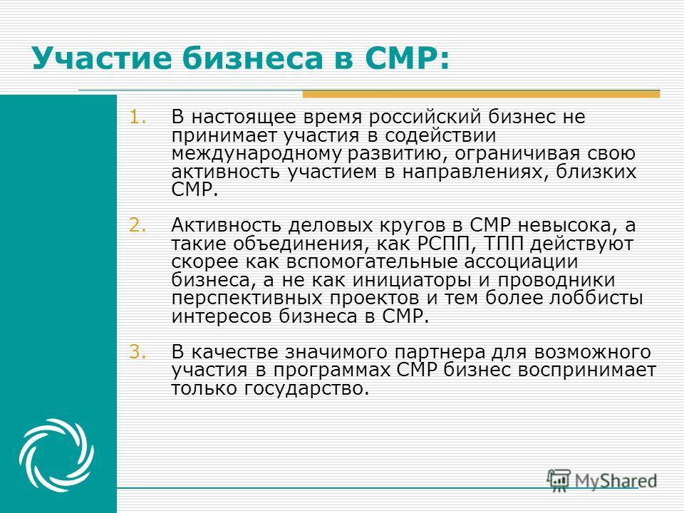 Участие бизнеса в СМР: 1.В настоящее время российский бизнес не принимает участия в содействии международному развитию, ограничивая свою активность участием в направлениях, близких СМР. 2.Активность деловых кругов в СМР невысока, а такие объединения,