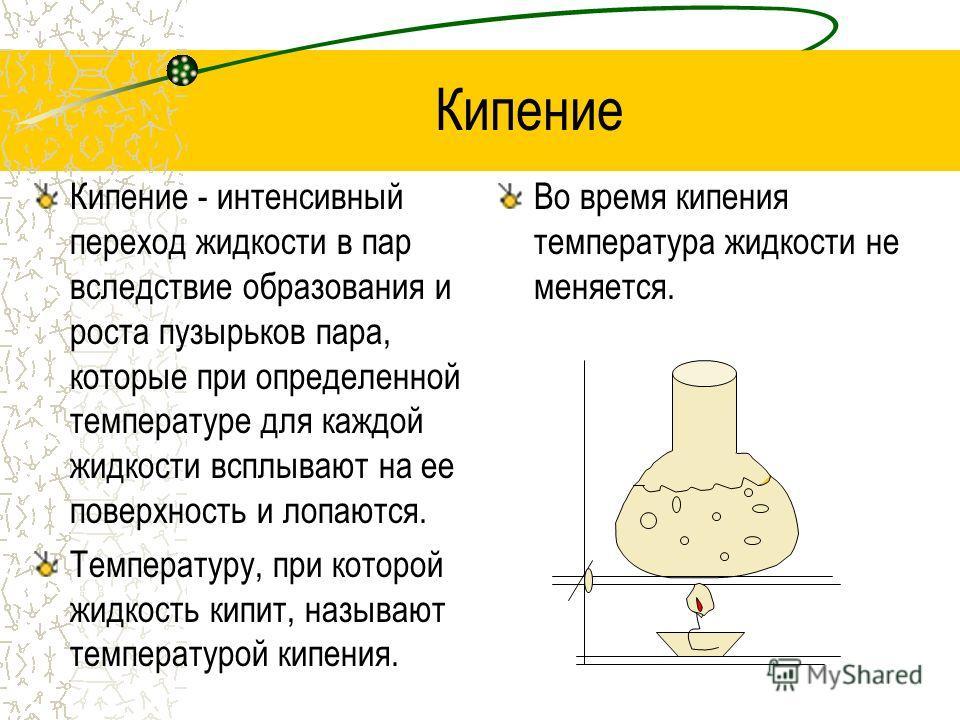 Кипение Кипение - интенсивный переход жидкости в пар вследствие образования и роста пузырьков пара, которые при определенной температуре для каждой жидкости всплывают на ее поверхность и лопаются. Температуру, при которой жидкость кипит, называют тем