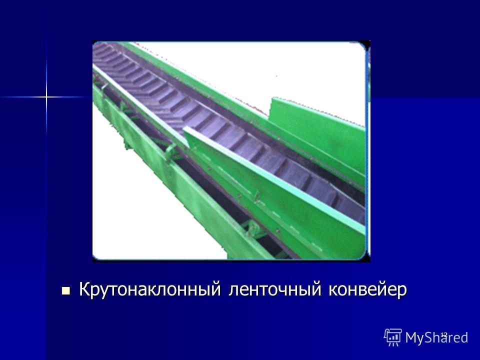 12 Крутонаклонный ленточный конвейер Крутонаклонный ленточный конвейер