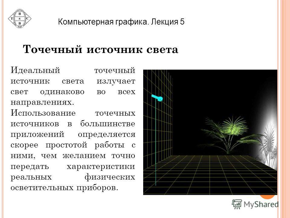 Точечный источник света Идеальный точечный источник света излучает свет одинаково во всех направлениях. Использование точечных источников в большинстве приложений определяется скорее простотой работы с ними, чем желанием точно передать характеристики