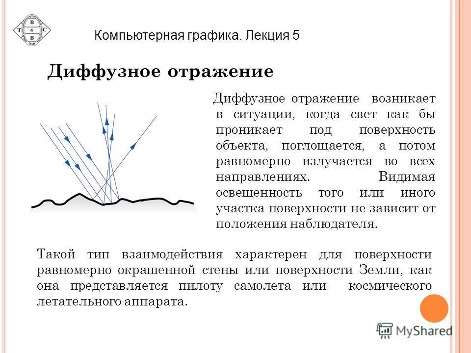 Диффузное отражение Диффузное отражение возникает в ситуации, когда свет как бы проникает под поверхность объекта, поглощается, а потом равномерно излучается во всех направлениях. Видимая освещенность того или иного участка поверхности не зависит от
