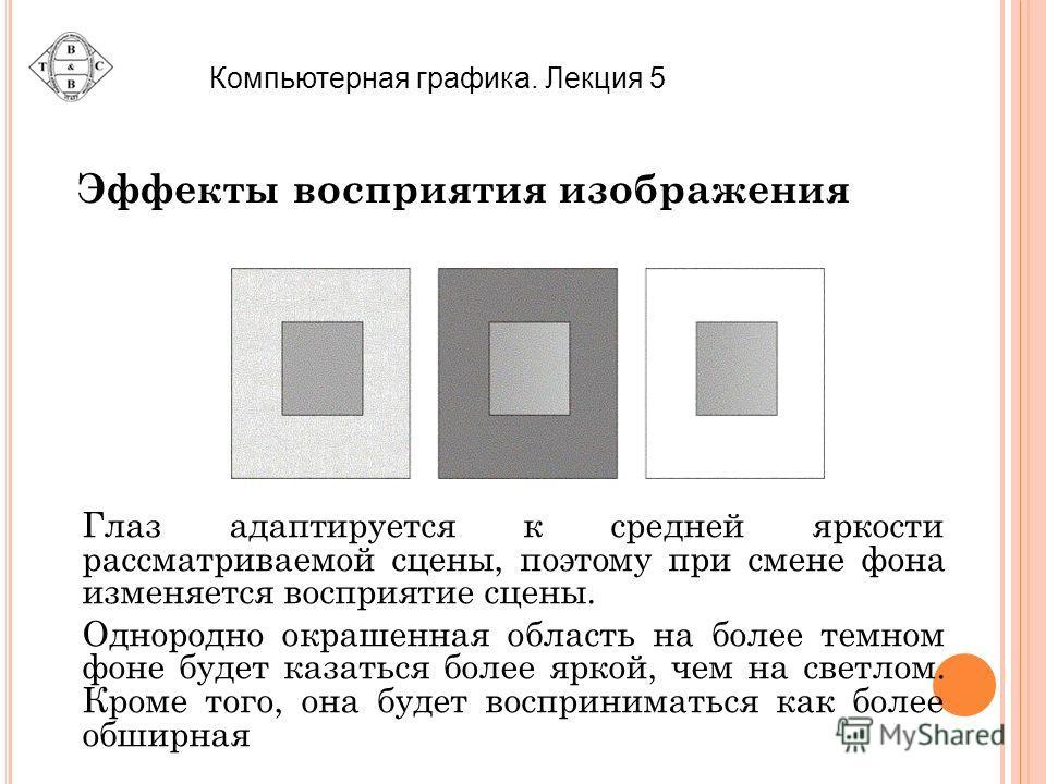 Компьютерная графика. Лекция 5 Эффекты восприятия изображения Глаз адаптируется к средней яркости рассматриваемой сцены, поэтому при смене фона изменяется восприятие сцены. Однородно окрашенная область на более темном фоне будет казаться более яркой,