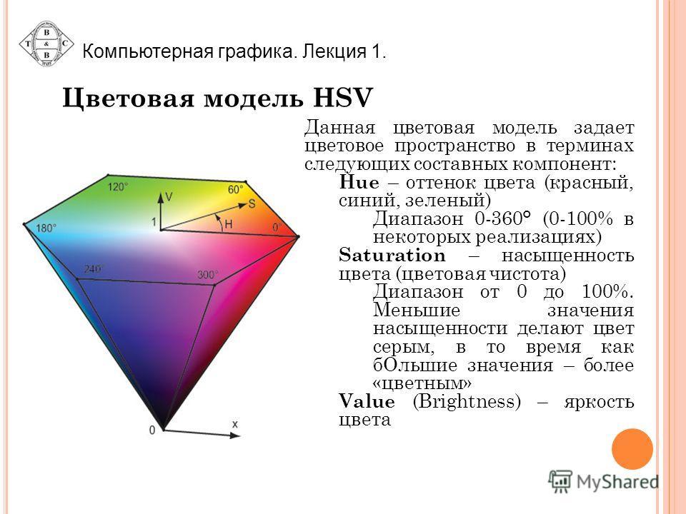 Компьютерная графика. Лекция 1. Цветовая модель HSV Данная цветовая модель задает цветовое пространство в терминах следующих составных компонент: Hue – оттенок цвета (красный, синий, зеленый) Диапазон 0-360° (0-100% в некоторых реализациях) Saturatio