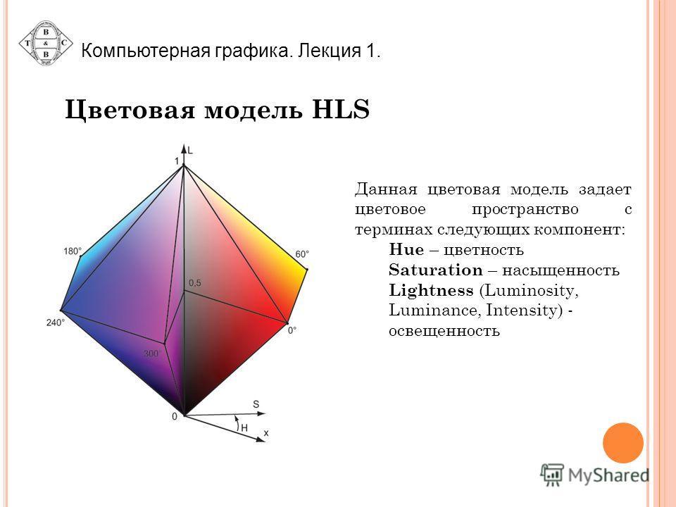 Цветовая модель HLS Данная цветовая модель задает цветовое пространство с терминах следующих компонент: Hue – цветность Saturation – насыщенность Lightness (Luminosity, Luminance, Intensity) - освещенность
