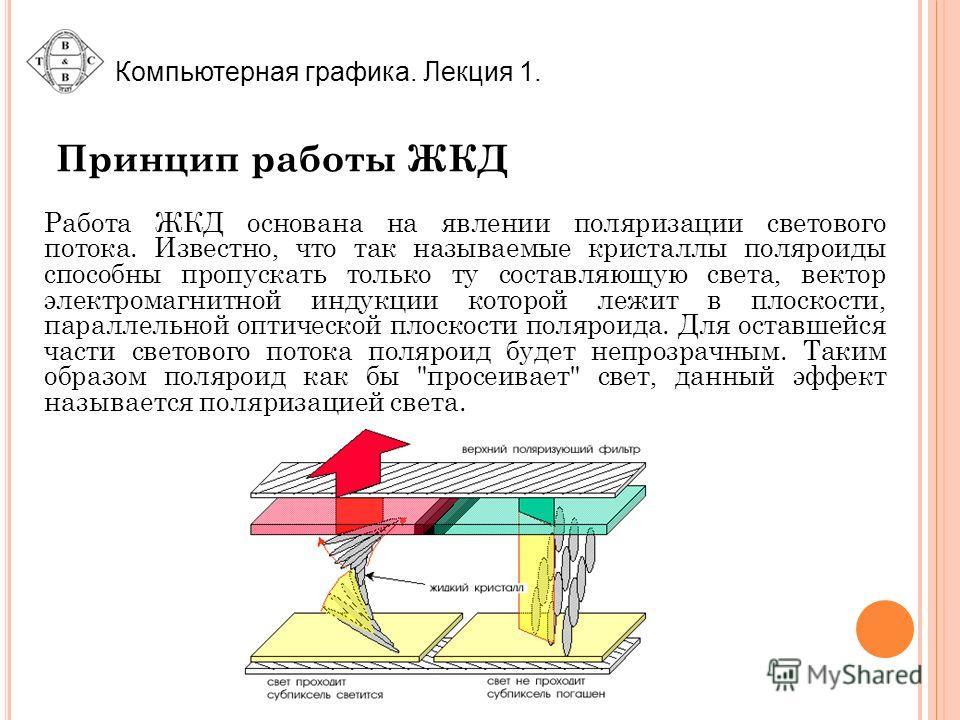 Принцип работы ЖКД Работа ЖКД основана на явлении поляризации светового потока. Известно, что так называемые кристаллы поляроиды способны пропускать только ту составляющую света, вектор электромагнитной индукции которой лежит в плоскости, параллельно