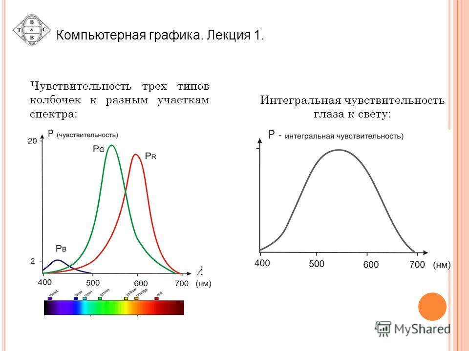 Компьютерная графика. Лекция 1. Интегральная чувствительность глаза к свету: Чувствительность трех типов колбочек к разным участкам спектра: