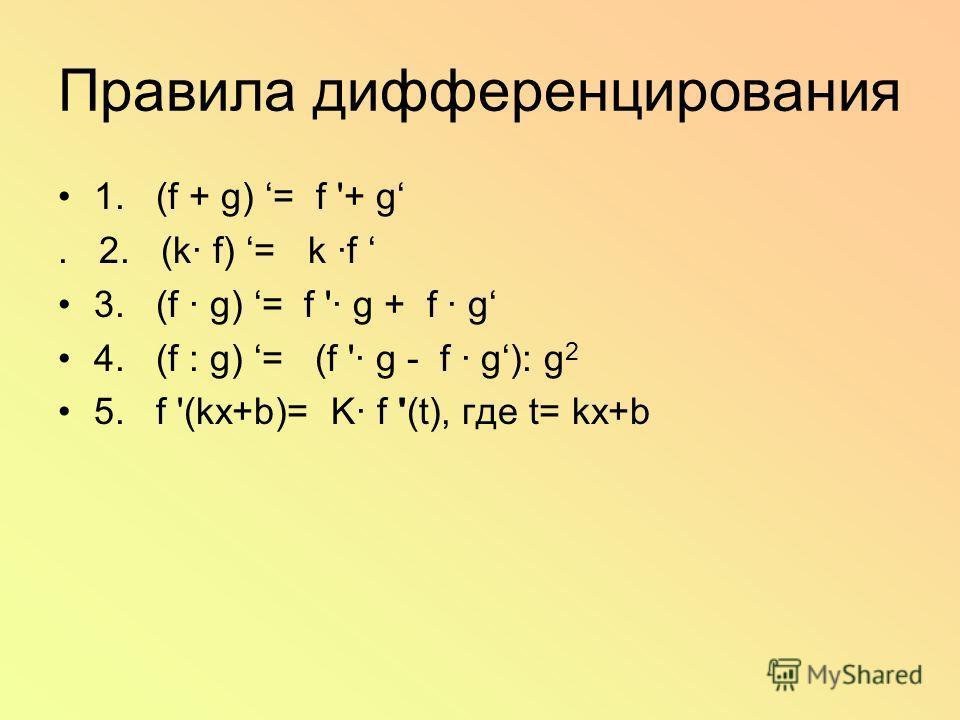 Правила дифференцирования 1. (f + g) = f '+ g. 2. (k· f) = k ·f 3. (f · g) = f '· g + f · g 4. (f : g) = (f '· g - f · g): g 2 5. f '(kx+b)= K· f '(t), где t= kx+b