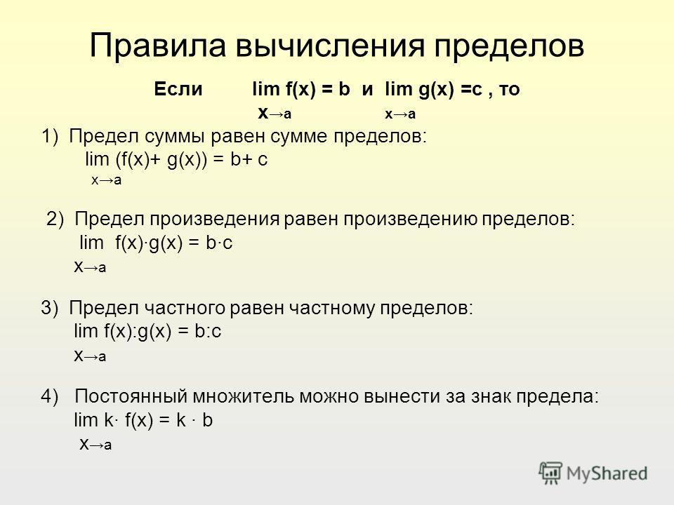 Правила вычисления пределов Если lim f(x) = b и lim g(x) =c, то x a xa 1) Предел суммы равен сумме пределов: lim (f(x)+ g(x)) = b+ c xa 2) Предел произведения равен произведению пределов: lim f(x)·g(x) = b·c x a 3) Предел частного равен частному пред