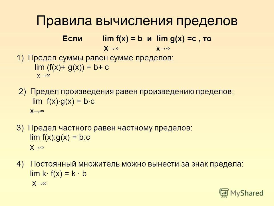 Правила вычисления пределов Если lim f(x) = b и lim g(x) =c, то x 1) Предел суммы равен сумме пределов: lim (f(x)+ g(x)) = b+ c x 2) Предел произведения равен произведению пределов: lim f(x)·g(x) = b·c x 3) Предел частного равен частному пределов: li