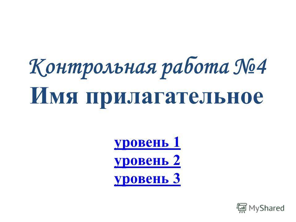 Презентация на тему Контрольная работа Имя прилагательное  1 Контрольная работа 4 Имя прилагательное уровень 1 уровень 2 уровень 3
