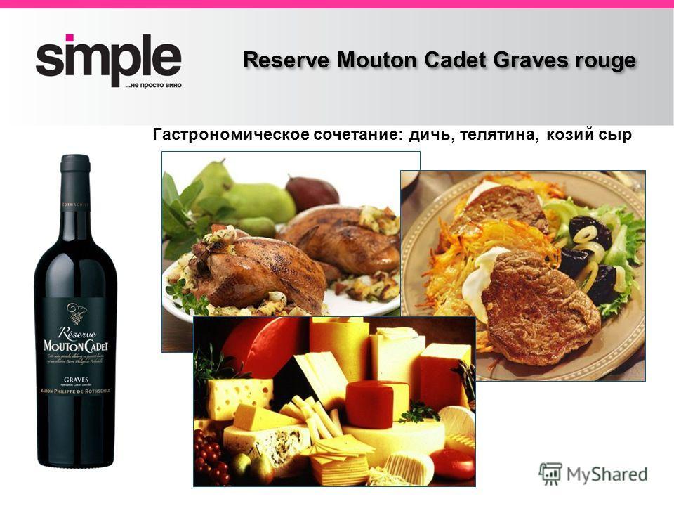 Заголовок слайда Reserve Mouton Cadet Graves rouge Гастрономическое сочетание: дичь, телятина, козий сыр