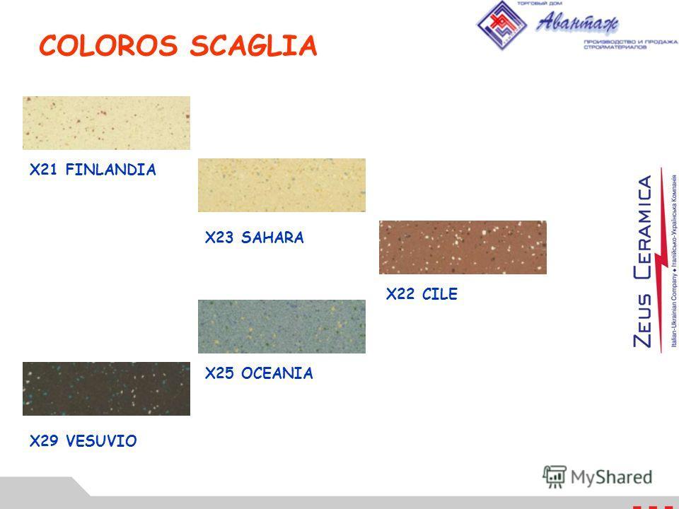 COLOROS SCAGLIA X21 FINLANDIA X23 SAHARA X22 CILE X25 OCEANIA X29 VESUVIO