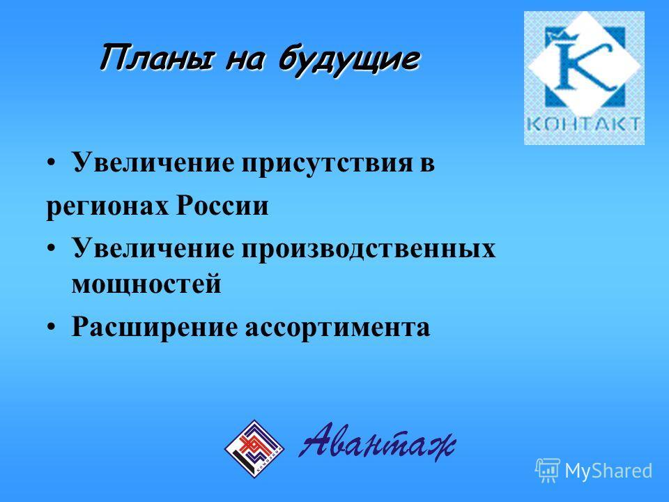 Планы на будущие Увеличение присутствия в регионах России Увеличение производственных мощностей Расширение ассортимента