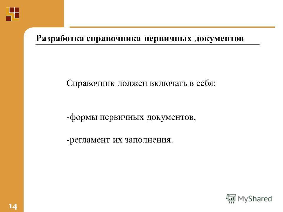 14 Справочник должен включать в себя: -формы первичных документов, -регламент их заполнения. Разработка справочника первичных документов
