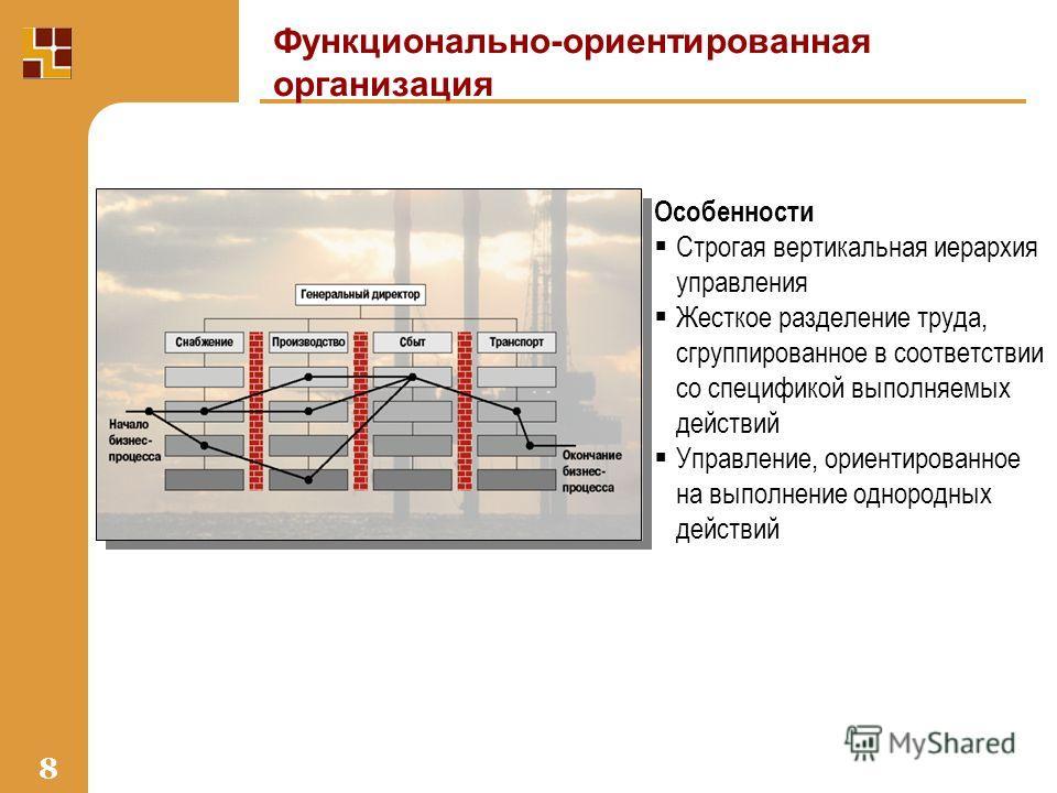 8 Функционально-ориентированная организация Особенности Строгая вертикальная иерархия управления Жесткое разделение труда, сгруппированное в соответствии со спецификой выполняемых действий Управление, ориентированное на выполнение однородных действий