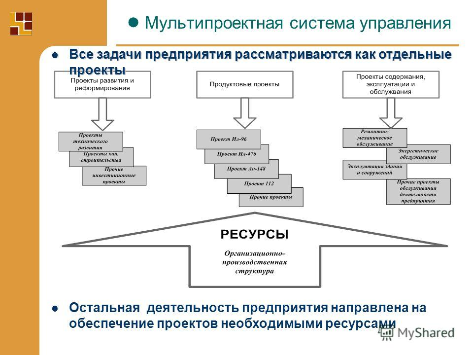 Все задачи предприятия рассматриваются как отдельные проекты Все задачи предприятия рассматриваются как отдельные проекты Остальная деятельность предприятия направлена на обеспечение проектов необходимыми ресурсами Мультипроектная система управления