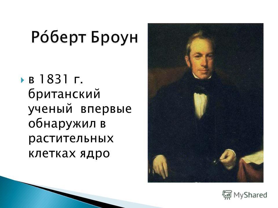 в 1831 г. британский ученый впервые обнаружил в растительных клетках ядро Ро́берт Броун Ро́берт Броун