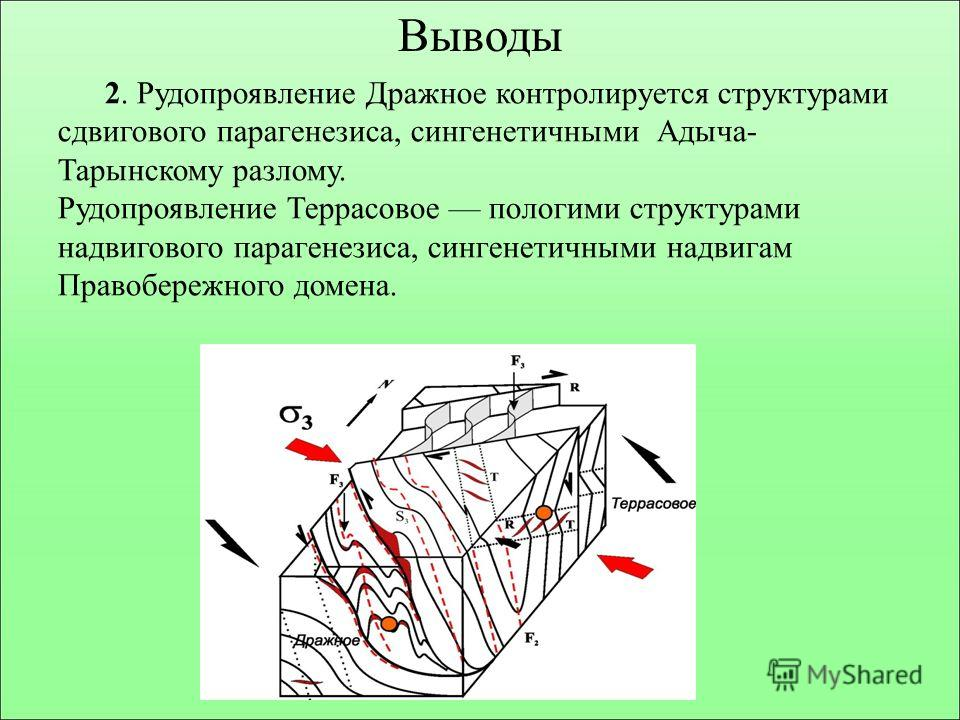 Выводы 2. Рудопроявление Дражное контролируется структурами сдвигового парагенезиса, сингенетичными Адыча- Тарынскому разлому. Рудопроявление Террасовое пологими структурами надвигового парагенезиса, сингенетичными надвигам Правобережного домена.