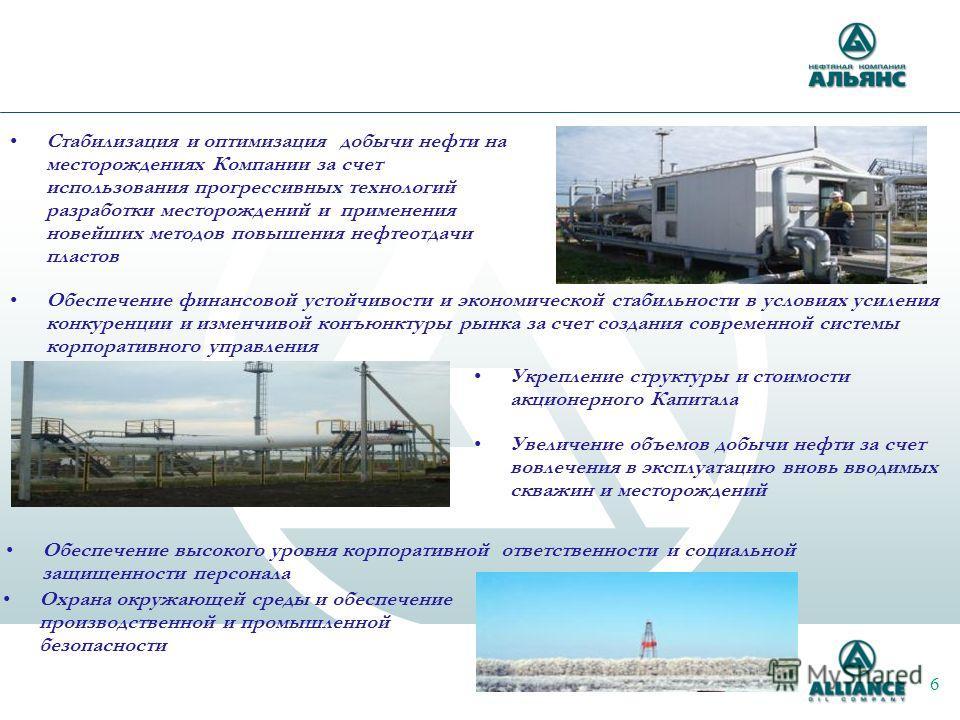 Охрана окружающей среды и обеспечение производственной и промышленной безопасности Стабилизация и оптимизация добычи нефти на месторождениях Компании за счет использования прогрессивных технологий разработки месторождений и применения новейших методо