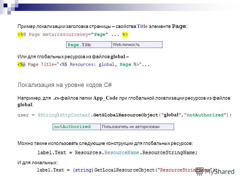 Пример локализации заголовка страницы – свойства Title элемента Page : Или для глобальных ресурсов из файлов global –