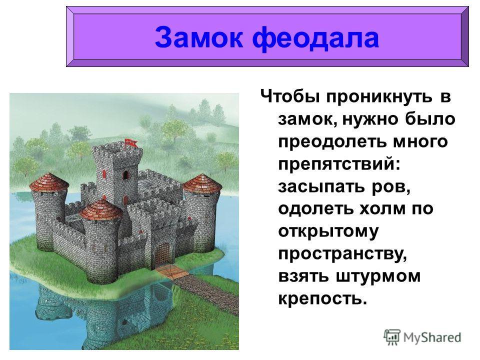 Чтобы проникнуть в замок, нужно было преодолеть много препятствий: засыпать ров, одолеть холм по открытому пространству, взять штурмом крепость. Замок феодала