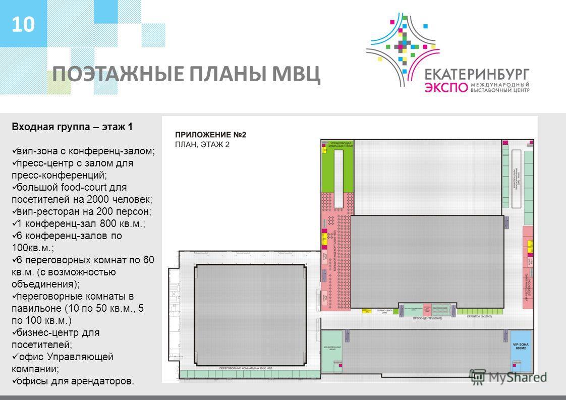 ПОЭТАЖНЫЕ ПЛАНЫ МВЦ 10 Входная группа – этаж 1 вип-зона с конференц-залом; пресс-центр с залом для пресс-конференций; большой food-court для посетителей на 2000 человек; вип-ресторан на 200 персон; 1 конференц-зал 800 кв.м.; 6 конференц-залов по 100к