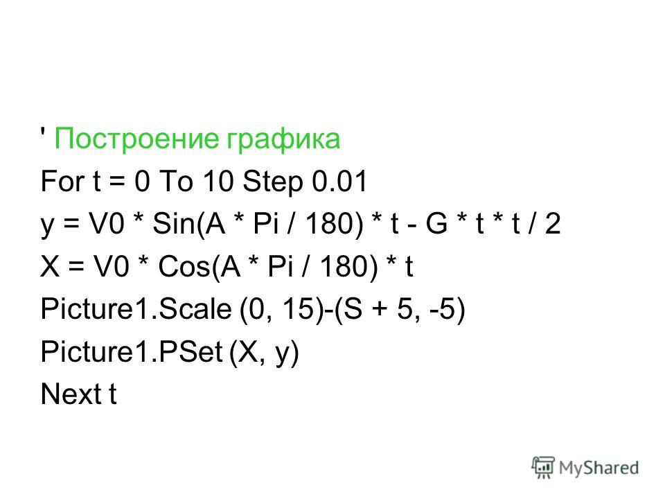 ' Построение графика For t = 0 To 10 Step 0.01 y = V0 * Sin(A * Pi / 180) * t - G * t * t / 2 X = V0 * Cos(A * Pi / 180) * t Picture1.Scale (0, 15)-(S + 5, -5) Picture1.PSet (X, y) Next t