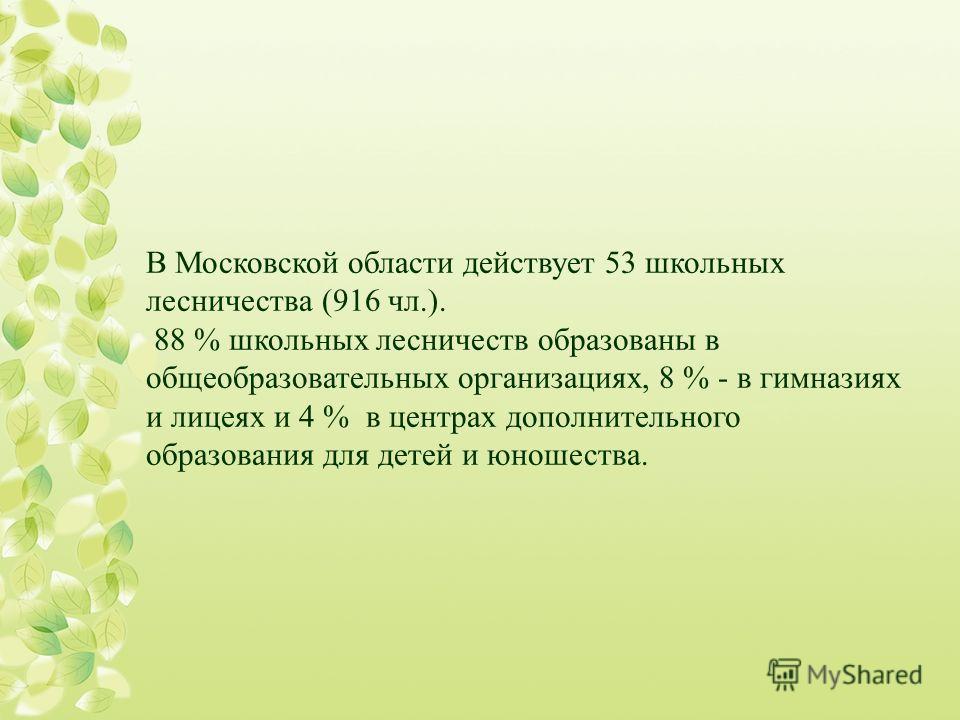 В Московской области действует 53 школьных лесничества (916 чл.). 88 % школьных лесничеств образованы в общеобразовательных организациях, 8 % - в гимназиях и лицеях и 4 % в центрах дополнительного образования для детей и юношества.