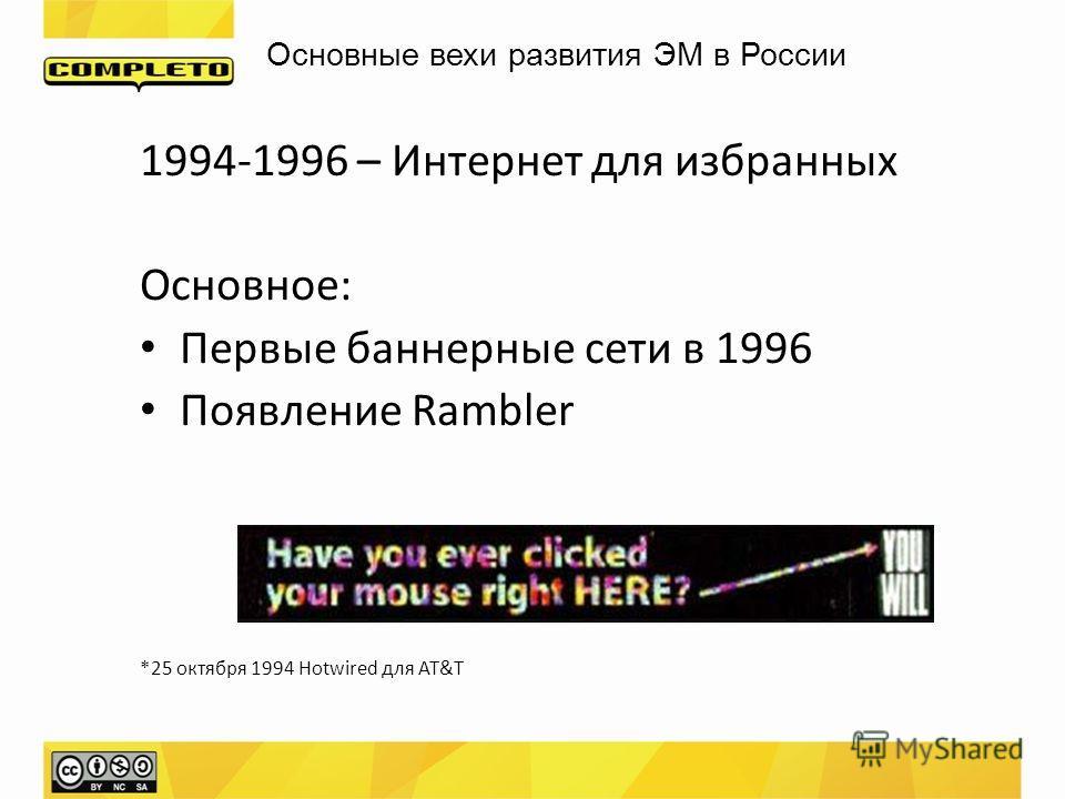 Основные вехи развития ЭМ в России 1994-1996 – Интернет для избранных Основное: Первые баннерные сети в 1996 Появление Rambler *25 октября 1994 Hotwired для AT&T