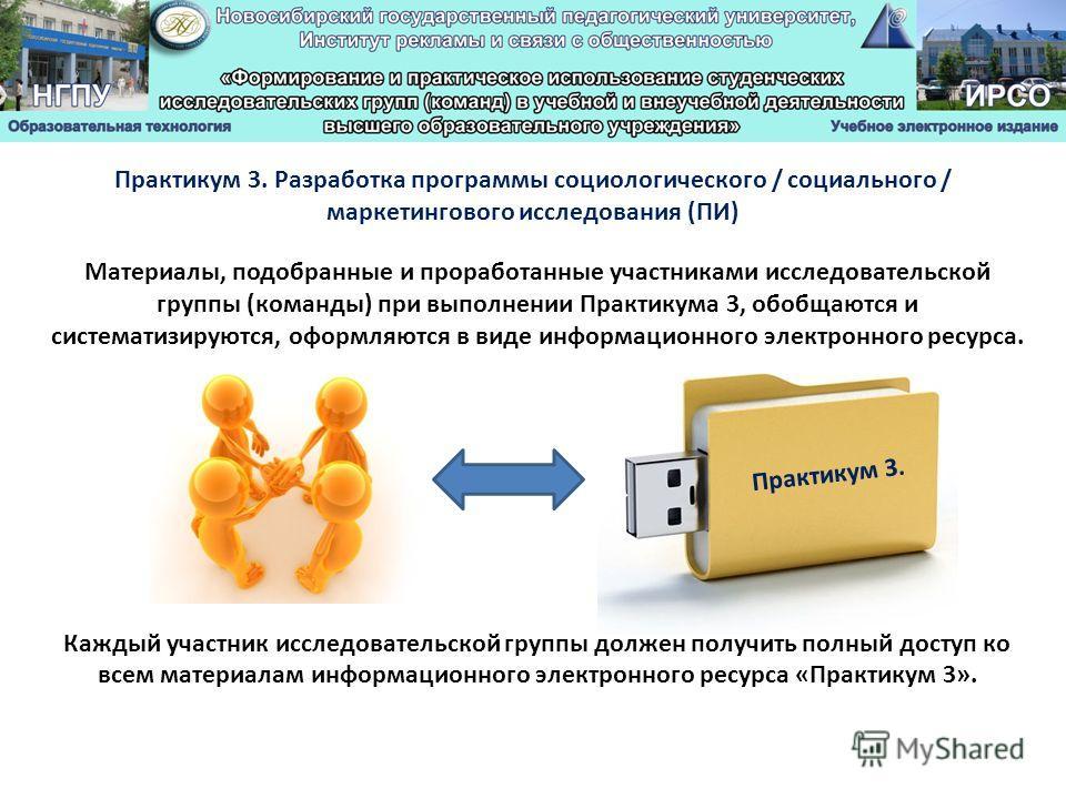Материалы, подобранные и проработанные участниками исследовательской группы (команды) при выполнении Практикума 3, обобщаются и систематизируются, оформляются в виде информационного электронного ресурса. Каждый участник исследовательской группы долже