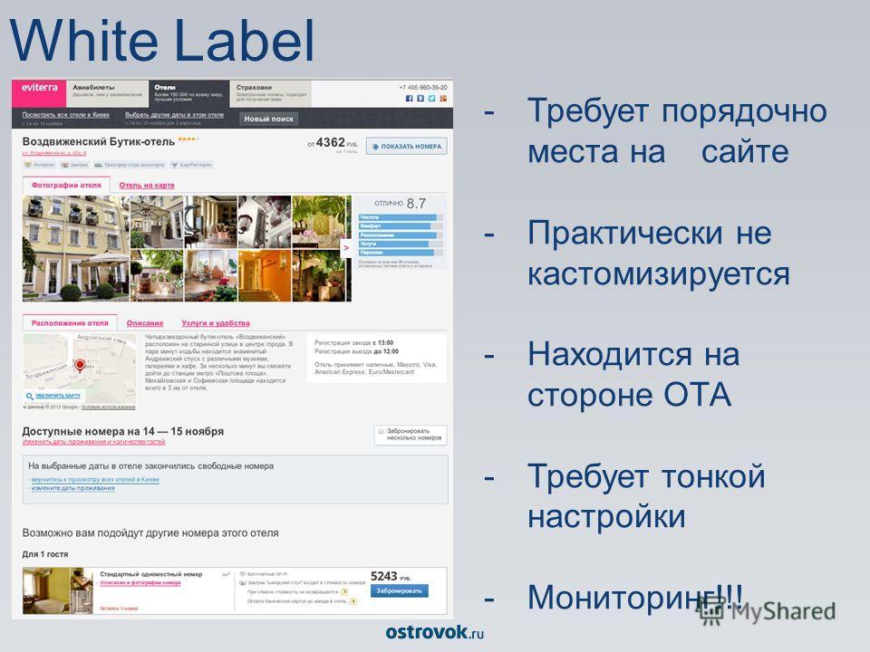White Label -Требует порядочно места на сайте -Практически не кастомизируется -Находится на стороне ОТА -Требует тонкой настройки -Мониторинг!!!
