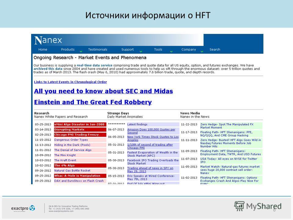 Источники информации о HFT 6