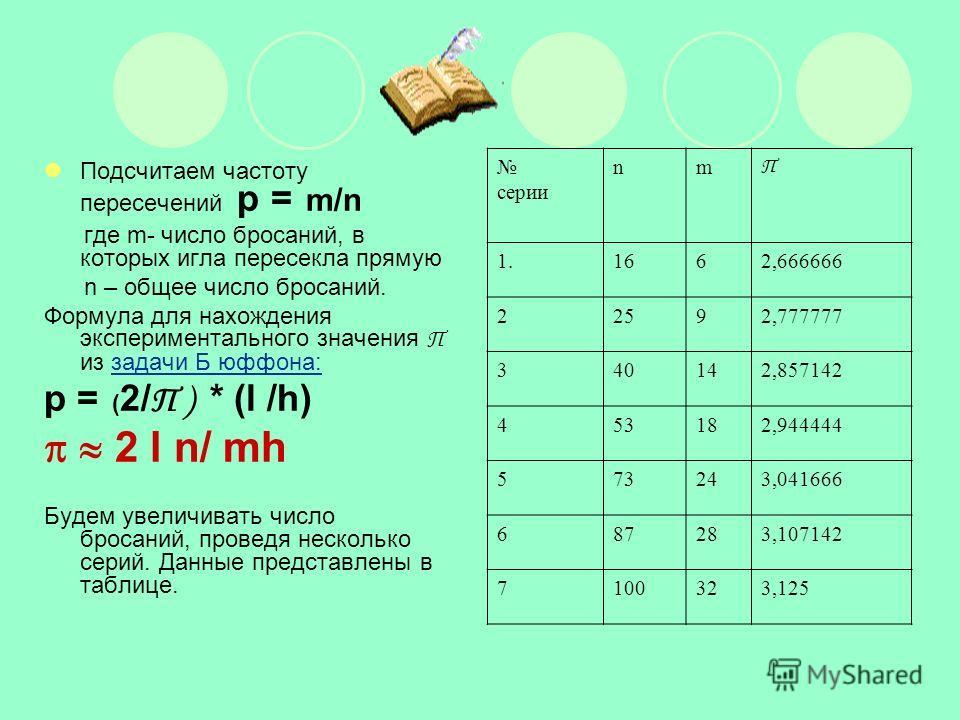 Подсчитаем частоту пересечений p = m/n где m- число бросаний, в которых игла пересекла прямую n – общее число бросаний. Формула для нахождения экспериментального значения П из задачи Б юффона:задачи Б юффона: p = ( 2/ П ) * (l /h) 2 l n/ mh Будем уве