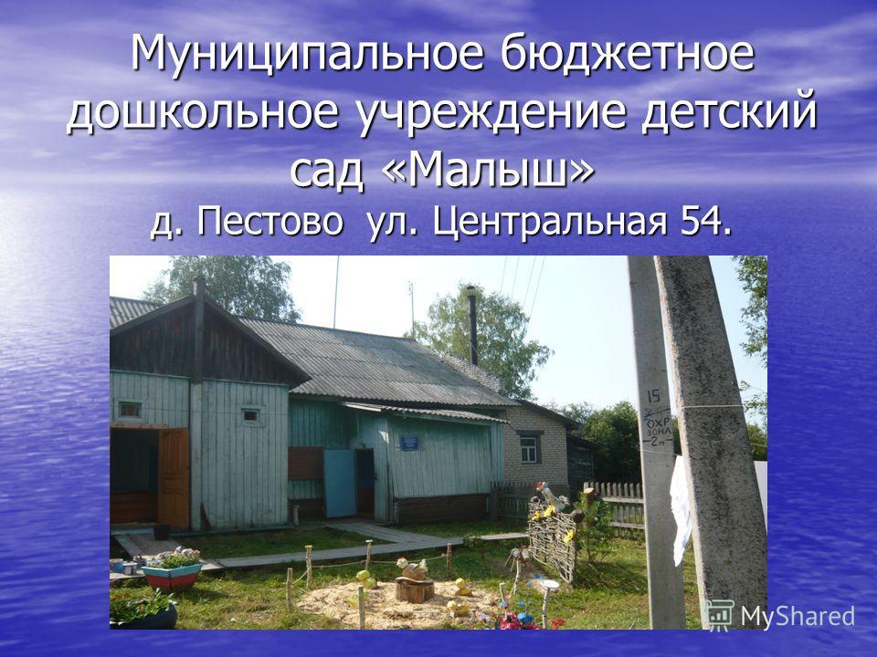 Муниципальное бюджетное дошкольное учреждение детский сад «Малыш» д. Пестово ул. Центральная 54.