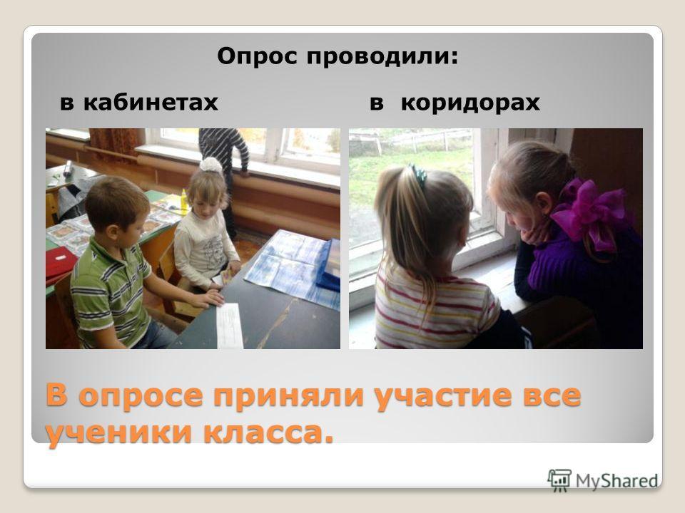 В опросе приняли участие все ученики класса. в кабинетахв коридорах Опрос проводили: