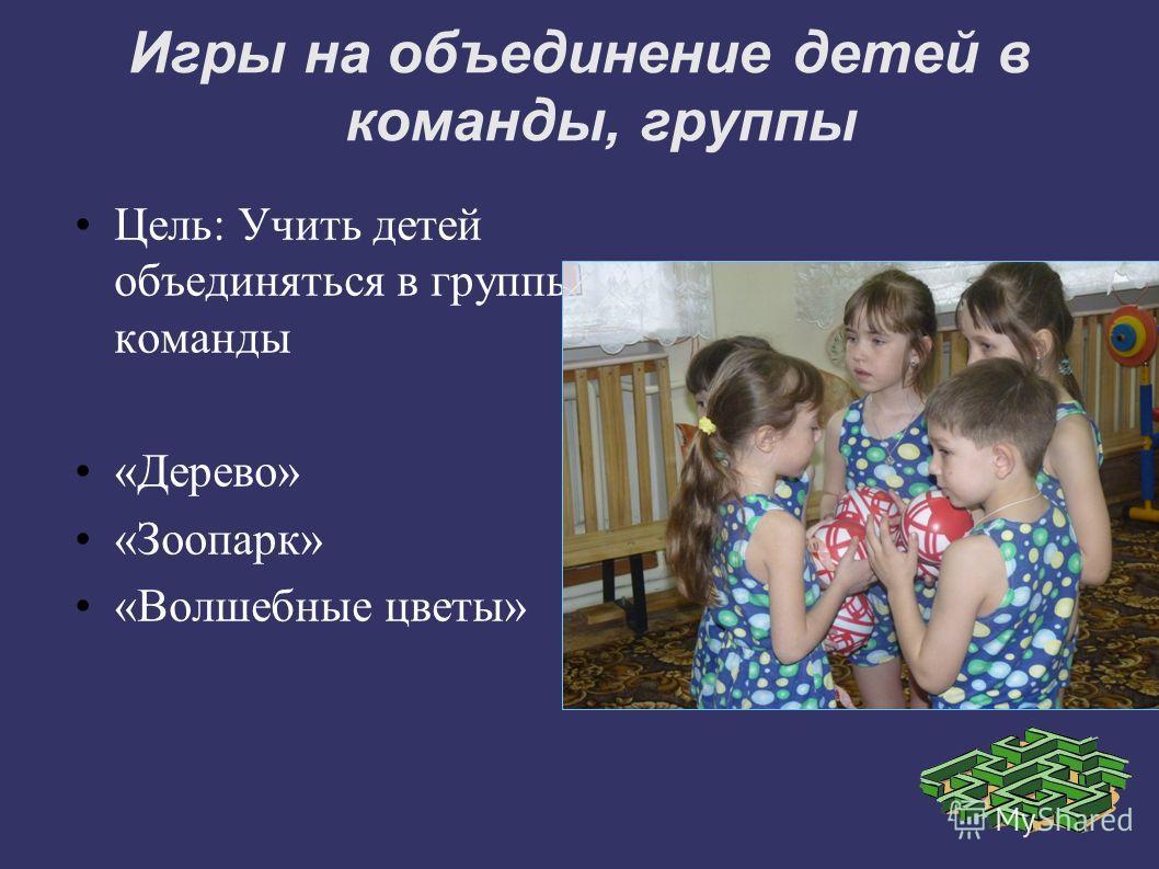 Игры на объединение детей в команды, группы Цель: Учить детей объединяться в группы, команды «Дерево» «Зоопарк» «Волшебные цветы»