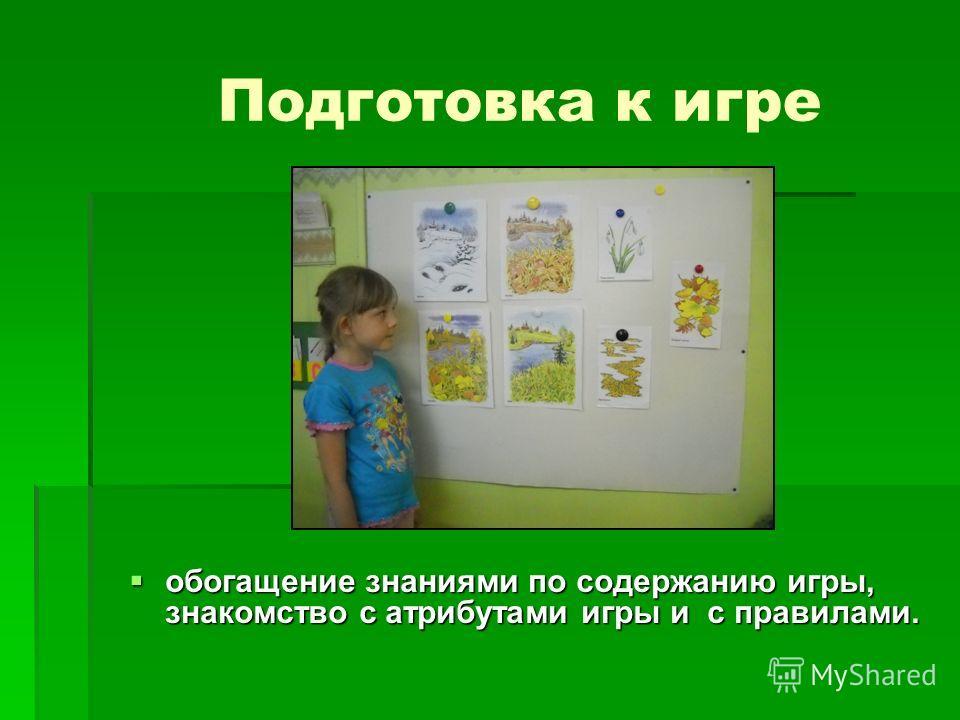 Подготовка к игре обогащение знаниями по содержанию игры, знакомство с атрибутами игры и с правилами. обогащение знаниями по содержанию игры, знакомство с атрибутами игры и с правилами.