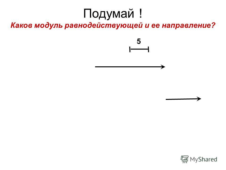 Подумай ! Каков модуль равнодействующей и ее направление? 5