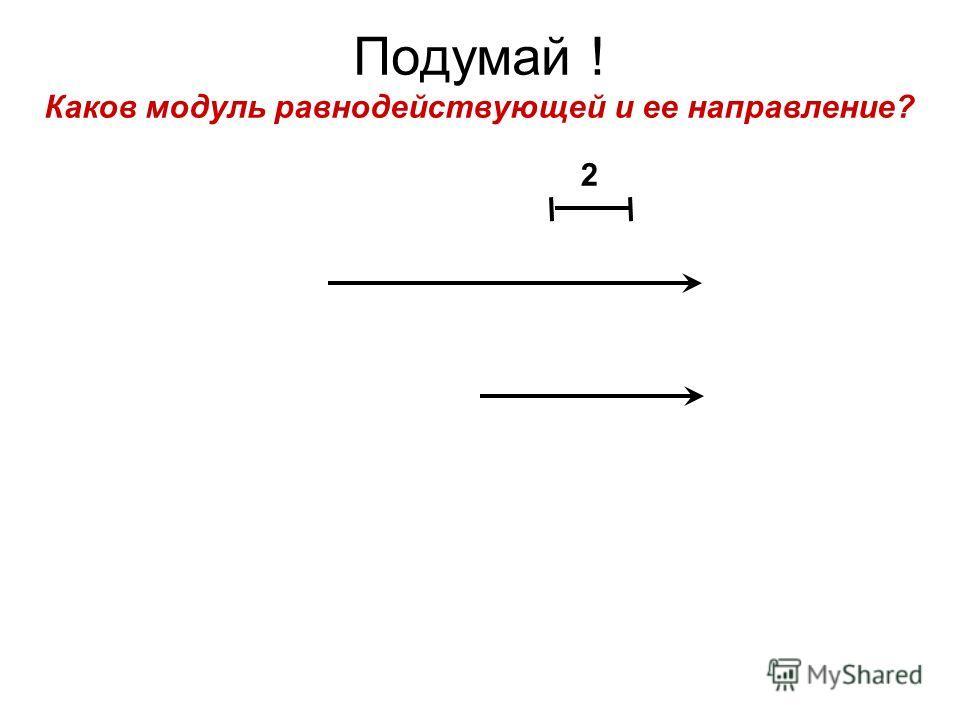 Подумай ! Каков модуль равнодействующей и ее направление? 2