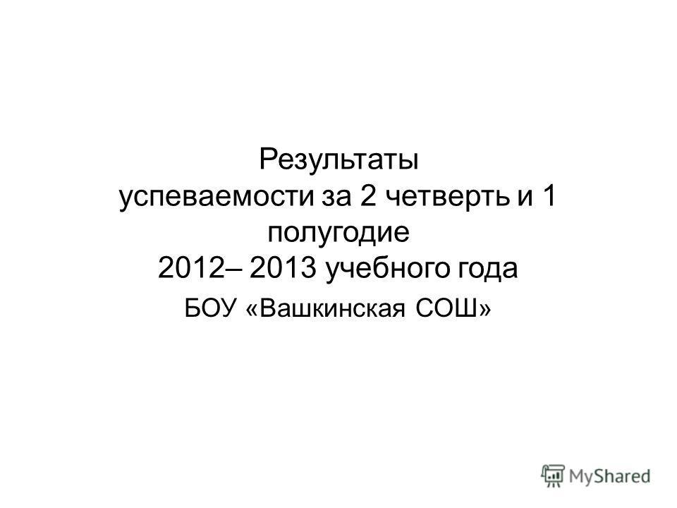 Результаты успеваемости за 2 четверть и 1 полугодие 2012– 2013 учебного года БОУ «Вашкинская СОШ»