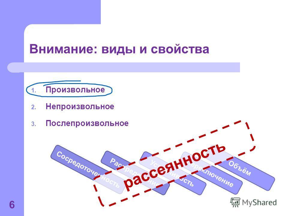 Внимание: виды и свойства 1. Произвольное 2. Непроизвольное 3. Послепроизвольное 6 Устойчивость Сосредоточенность Объём Переключение Распределение рассеянность